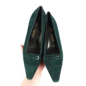 NWOB St. John emerald green suede kitten heel